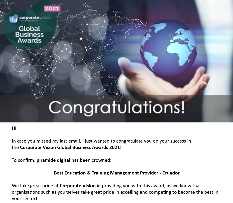 Global Business Awards 2021 - Mejor Proveedor de Gestión de Educación y Entrenamiento - Ecuador